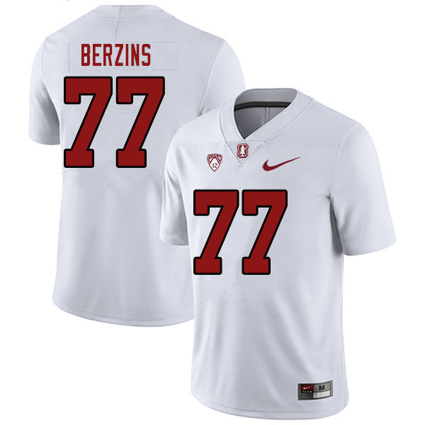 Men #77 Logan Berzins Stanford Cardinal College Football Jerseys Sale-White